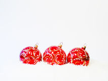 Three red Christmas balls Stock Photo