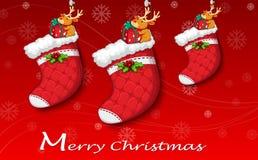 Three red christmas stockings. Illustration of the three red christmas stockings Royalty Free Stock Photo