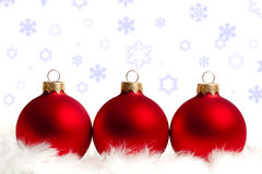 Three red Christmas tree balls Stock Images