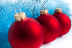 Three red Christmas tree balls Royalty Free Stock Image