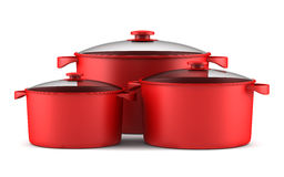 Three red cooking pans isolated on white Stock Images