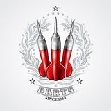 Three red darts in center of silver laurel wreath. Sport logo for any darts game or championship. On white royalty free illustration