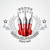 Three red darts in center of silver wreath. Sport logo for any darts game or championship. On white vector illustration