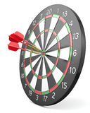 Three red darts hit center of board Stock Photo