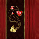 Three red diamond hearts with gold and silk. Beautiful illustration with three red diamond hearts and gold ornaments Royalty Free Stock Image