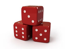 Three red dice Royalty Free Stock Photos
