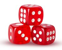 Three red dice. Isolated on white background. Clipping Path. Full depth of field royalty free stock images
