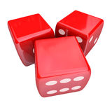 Three Red Dice Rolling Taking Chance Gamble Game Casino 3 Blank. Three red dice rolling to place or take a bet and gamble in a casino, with blank copy space for stock illustration