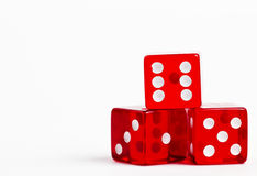 Three red dices. On white background royalty free stock image