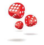Three red dices in motion Stock Image