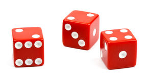 Three red dices on white background.  stock photos