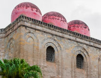 The three red domes of the church of San Cataldo in Palermo (Sicily) Stock Photos