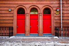Three Red Doors Stock Image