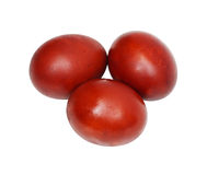 Three red Easter eggs Stock Photography
