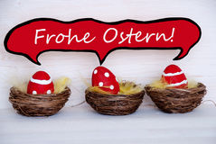 Three Red Easter Eggs With Comic Speech Balloon Frohe Ostern Means Happy Easter Stock Photography