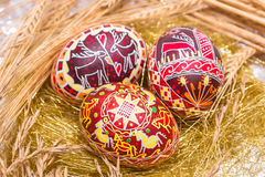 Three red Easter eggs with wheat Royalty Free Stock Image