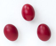 Three Red Eggs For Easter Celebration Stock Images