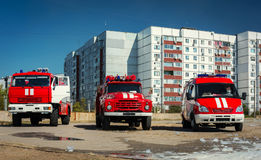Three red fire truck . Stock Photo