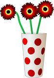 Three red flower. In a glass with polka dots Vector Illustration