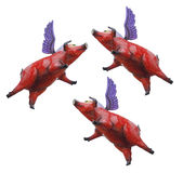 Three Red Flying Pigs with Wings Stock Photography
