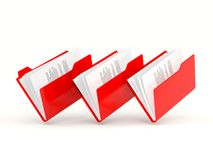Three red folders in a row Stock Image