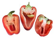 Three red funny peppers ready for halloween Stock Photos