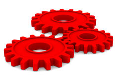 Three red gears on white background Stock Photos
