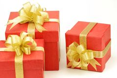Three red gift box Royalty Free Stock Images
