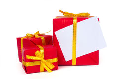 Three red gift boxes Royalty Free Stock Photography