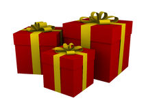 Three red gift boxes with yellow ribbon isolated. Three red gift boxes with yellow ribbon and bow isolated on white vector illustration