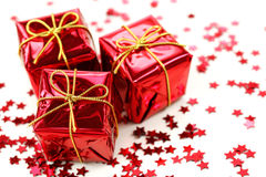 Three red gifts Royalty Free Stock Images