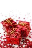 Three red gifts Stock Photo