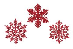 Three red glitter snowflakes Royalty Free Stock Images