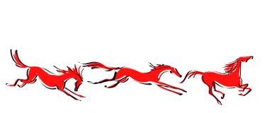 Three red hand drawn galloping horses set. Stock Photography