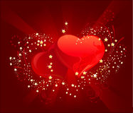 Three red heart. Two red brilliant heart with little ablaze gold stars on a red luminous background Vector Illustration