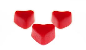 Three Red Heart Candies Stock Image