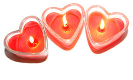 Three red heart shaped candle Royalty Free Stock Image