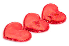 Three red hearts Stock Image