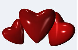 Three red hearts 3d Stock Images