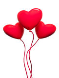 Three red hearts-balloons. On white backround Stock Photo