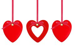 Three red hearts over white Royalty Free Stock Images