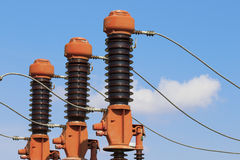 Three red high voltage isolation Stock Photography