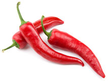 Three red hot chili pepper Stock Images
