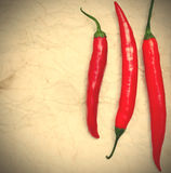 Three red hot chili peppers. On the paper background. instagram image style Royalty Free Stock Photo