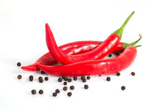 Three red hot peppers and black peppercorns isolated. On white background Royalty Free Stock Images