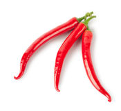 Three red hot peppers Royalty Free Stock Image