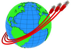 Three red internet cables wrap around the Earth Royalty Free Stock Photography
