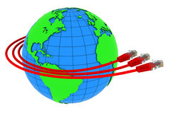 Three red internet cables wrap around the Earth Royalty Free Stock Images