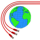 Three red internet cables wrap around the Earth Stock Photo
