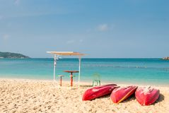 red kayak boats on the beach Royalty Free Stock Image